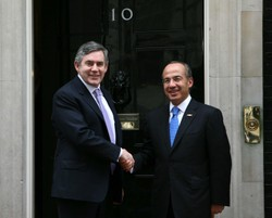 Gordon Brown and Felipe Calderon