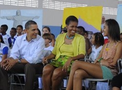 Barack Obama, Michelle Obama and Malia Obama