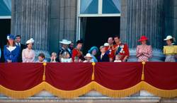 Princess Margaret, Queen Mother, Michael of Kent, Queen Elizabeth, Philip Duke of Edinburgh, Prince William, Prince Harry, Princess Diana and Princes Anne