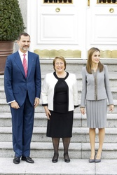 Michelle Bacheelet, King Felipe and Queen Letizia  of Spain
