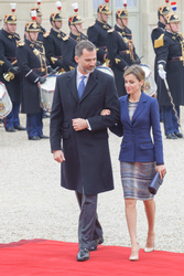 Francois Hollande, King Felipe VI, Queen Letizia