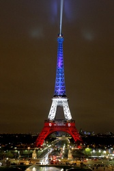 Eiffel Tower Illuminated in the French national colours