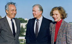 Shimon Peres, Jimmy Carter, and Rosalynn Carter