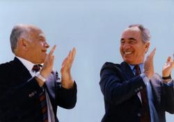 Yitzhak Shamir and Shimon Peres
