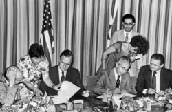 Thomas Pickering, George H.W. Bush, Shimon Peres and Avraham Sharir