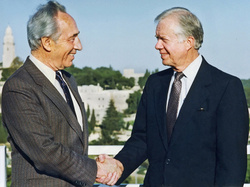 Shimon Peres and Jimmy Carter