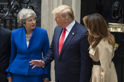 British Prime Minister Theresa May, US President Donald Trump and First Lady Melania Trump